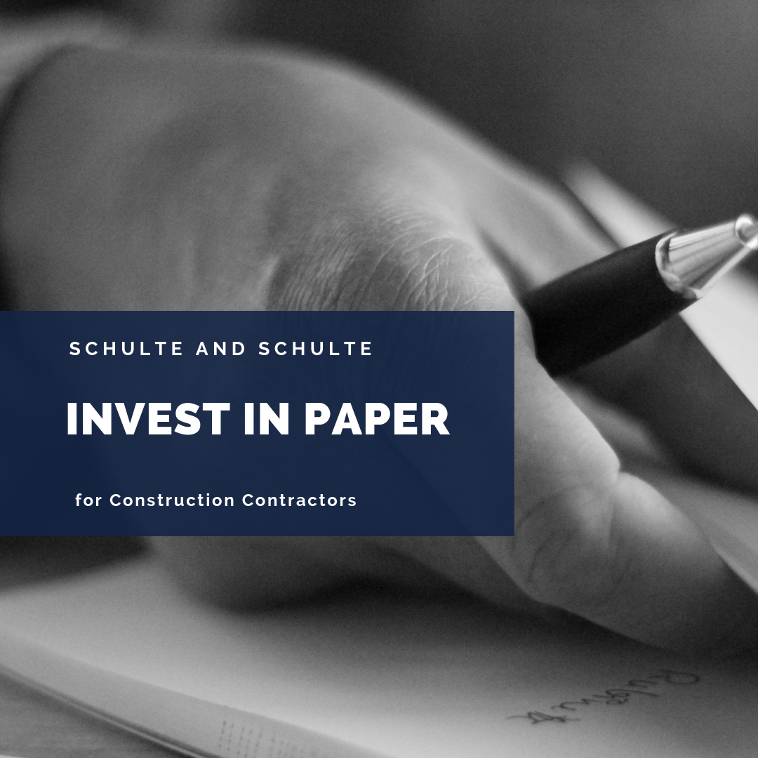 Invest in paper, it is good for your construction business